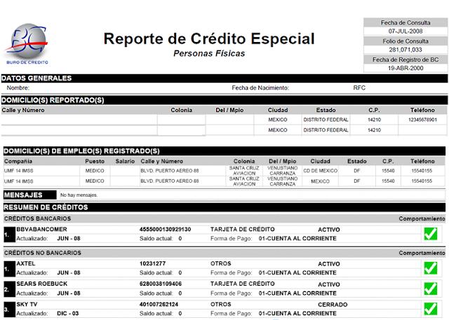 Formato del Reporte de Crédito Especial